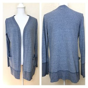 Cynthia Rowley Cardigan Heathered Blue Long Sleeve